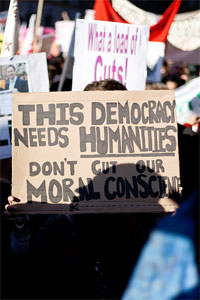 """""""This Democracy Needs Humanities"""" protest sign"""