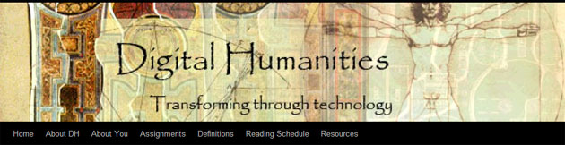 "Banner for course on ""Digital Humanities"" at Bloomsburg U."