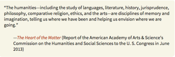 """One definition of the humanities from the """"Contest Kit"""""""