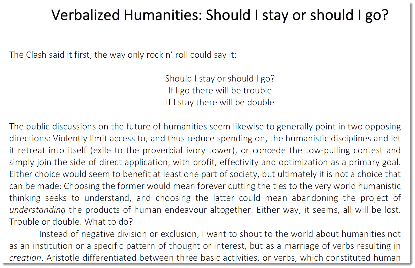 "Jesper Skytte Sodemann — ""Verbalized Humanities: Should I stay or Should I Go?"""