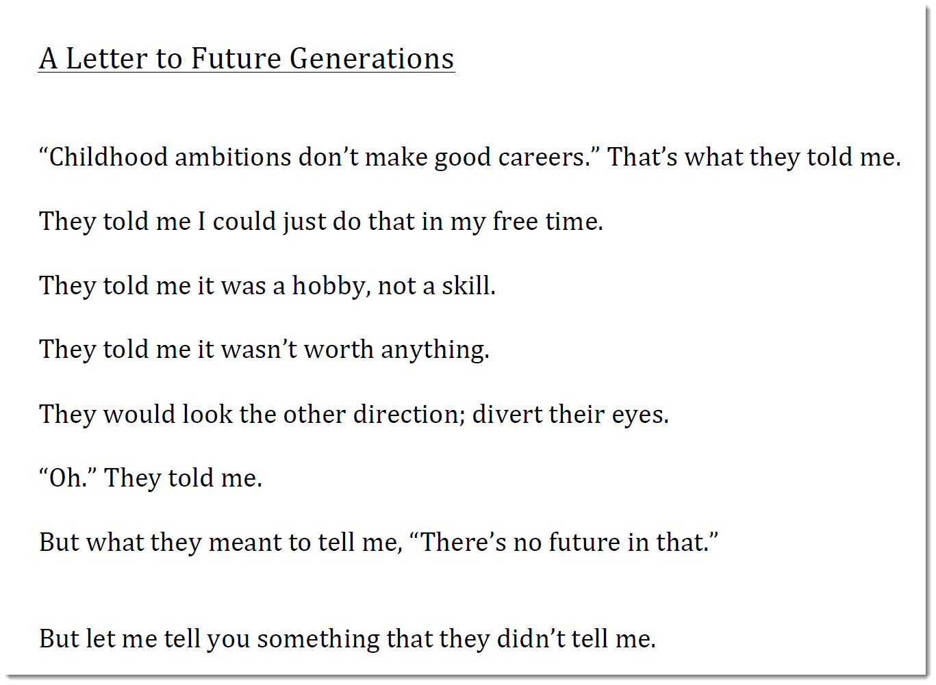 "CharLynne Cather — ""A Letter to Future Generations"""