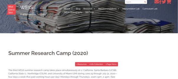 WE1S Summer Research Camp 2020 website (screenshot)